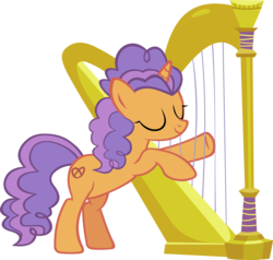 Size: 4388x4183 | Tagged: absurd res, artist:ironm17, bipedal, eyes closed, female, harp, musical instrument, pony, pretzel twist, safe, simple background, smiling, solo, transparent background, unicorn, vector