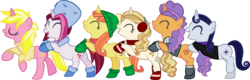 Size: 8124x2612 | Tagged: safe, alternate version, artist:ironm17, cayenne, citrus blush, moonlight raven, pretzel twist, sunshine smiles, sweet biscuit, pony, unicorn, beanie, boots, butt touch, clothes, conga, earmuffs, eyes closed, female, grin, group, hat, hoof on butt, jacket, mare, open mouth, scarf, shoes, short-sleeved jacket, simple background, smiling, sweater, transparent background, vector, winter outfit