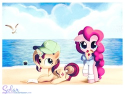 Size: 2000x1500   Tagged: safe, artist:songbirdserenade, pinkie pie, sunset shimmer, bird, pony, beach, cap, clothes, cloud, food, hat, magic, mouth hold, ocean, paper, pencil, pizza, prone, sushi, thread