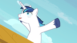 Size: 1920x1080 | Tagged: safe, screencap, shining armor, pony, unicorn, once upon a zeppelin, majestic as fuck, male, solo, stallion