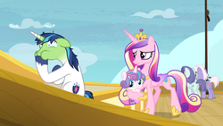Size: 1920x1080 | Tagged: safe, screencap, princess cadance, princess flurry heart, shining armor, alicorn, pony, unicorn, once upon a zeppelin, airship, airsick, airsick armor, amused, female, green face, hoof shoes, male, mare, sick, stallion, unshorn fetlocks, zeppelin
