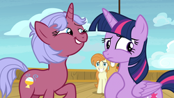 Size: 1920x1080 | Tagged: safe, screencap, agua fresca, lily peel, raspberry sorbet, twilight sparkle, alicorn, pony, once upon a zeppelin, grin, lip bite, smiling, twilight sparkle (alicorn)