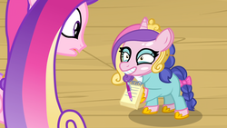 Size: 1920x1080 | Tagged: safe, screencap, princess cadance, scribble pad, pony, once upon a zeppelin, adoracreepy, autograph, bow, cadance mask, clothes, cosplay, costume, creepy, cute, female, filly, hoof hold, horseshoes, mask, nightmare fuel, smiling, tail bow, uncanny valley, wat, why, wtf