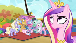 Size: 1920x1080   Tagged: safe, screencap, cloudy winds, coconut palm, cotton chip, cranberry pit, cream puff, grape stem, opulence, power chord, princess cadance, princess flurry heart, stratus wind, sun cloche, alicorn, earth pony, pony, once upon a zeppelin, airship, baby, baby pony, background pony, cadance is not amused, eyeroll, female, ginger tea, las pegasus resident, male, mare, stallion, unamused, unnamed pony, zeppelin