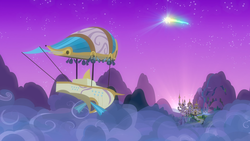 Size: 1920x1080 | Tagged: safe, screencap, once upon a zeppelin, airship, canterlot, cloud, loudspeaker, night, no pony, northern stars, scenery, shooting star, zeppelin
