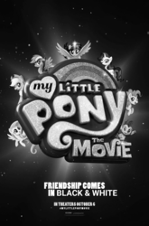 Size: 720x1094 | Tagged: safe, edit, applejack, fluttershy, pinkie pie, rainbow dash, rarity, spike, twilight sparkle, alicorn, dragon, pony, my little pony: the movie, black and white, classic art, grayscale, mane seven, mane six, monochrome, movie poster, old school, throwback thursday, twilight sparkle (alicorn)