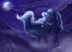 Size: 1461x1072 | Tagged: safe, artist:1an1, princess luna, alicorn, pony, female, looking back, mare, moon, night, scenery, solo