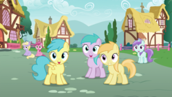 Size: 1279x720 | Tagged: safe, screencap, aura (character), dinky hooves, liza doolots, noi, petunia, rainy feather, ruby pinch, tootsie flute, earth pony, pegasus, pony, unicorn, secrets and pies, background pony, female, filly, house, smiling