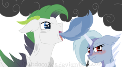 Size: 1586x876 | Tagged: artist:ipandacakes, blushing, dracony, dragonfire, duo, female, fire, hybrid, male, oc, oc:blue moonstone, oc only, oc:tanzanite, safe, simple background, smoke, snorting, white background