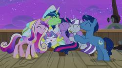 Size: 1920x1080 | Tagged: safe, screencap, night light, princess cadance, princess flurry heart, shining armor, twilight sparkle, twilight velvet, alicorn, pony, unicorn, once upon a zeppelin, season 7, ^^, adorkable, airship, airsick, airsick armor, baby, baby pony, crown, cute, cutedance, daaaaaaaaaaaw, dork, eyes closed, family, female, flurrybetes, green face, group hug, hoof shoes, hug, jewelry, male, mare, open mouth, regalia, shining adorable, sick, smiling, sparkle family, stallion, twiabetes, twilight sparkle (alicorn), unshorn fetlocks, velvetbetes, zeppelin