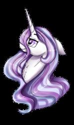 Size: 832x1398 | Tagged: safe, artist:inspiredpixels, oc, oc only, oc:nightingale, pony, unicorn, art trade, bust, chest fluff, female, floppy ears, horn, mare, signature, simple background, smiling, solo, transparent background, unicorn oc