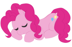 Size: 1000x650   Tagged: safe, artist:peachiebuns, pinkie pie, earth pony, pony, eyes closed, female, mare, prone, simple background, sleeping, solo, transparent background