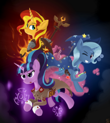 Size: 1536x1724 | Tagged: safe, artist:qzygugu, starlight glimmer, sunset shimmer, trixie, pony, unicorn, book, cape, clothes, counterparts, cuffs (clothes), female, fiery shimmer, hat, mare, smiling, staff, starlight himmler, trio, trixie's cape, trixie's hat, twilight's counterparts, uniform