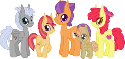Size: 2593x1227 | Tagged: safe, artist:casanova-mew, apple bloom, chipcutter, tender taps, oc, oc:appleslice trot, oc:violin ballet, pony, bisexual, chipbloom, cutie mark, female, filly, male, offspring, ot3, parent:apple bloom, parent:tender taps, parents:tenderbloom, parents:tendercutbloom, polyamory, shipping, simple background, straight, tenderbloom, tendercutbloom, the cmc's cutie marks, transparent background