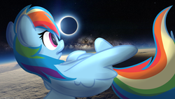Size: 1024x576 | Tagged: safe, artist:littleblackraencloud, rainbow dash, pegasus, pony, eclipse, female, floating, horizon, irl, mare, moon, open mouth, photo, planet, ponies in real life, rear view, sky, solar eclipse, solo, space, stars, sun
