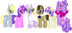Size: 3334x1558 | Tagged: safe, artist:casanova-mew, alula, amethyst star, derpy hooves, dinky hooves, doctor whooves, pluto, princess erroria, screwball, sparkler, time turner, alicorn, earth pony, pegasus, pony, unicorn, alternate hairstyle, bisexual, bowtie, derpball, doctorderpball, doctorderpy, female, goggles, lesbian, male, mare, older, screwhooves, shipping, simple background, stallion, straight, transparent background