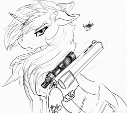 Size: 2862x2557   Tagged: safe, artist:brainiac, oc, oc only, oc:littlepip, pony, unicorn, fallout equestria, black and white, clothes, fanfic, fanfic art, female, floppy ears, glowing horn, grayscale, gun, handgun, horn, ink, inktober, inktober 2017, levitation, little macintosh, magic, mare, monochrome, optical sight, revolver, simple background, solo, telekinesis, traditional art, vault suit, weapon, white background
