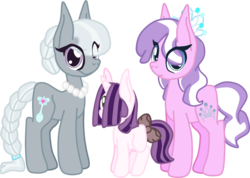 Size: 1578x1123 | Tagged: alternate hairstyle, artist:magnesium--oxide, diamond tiara, earth pony, female, filly, lesbian, magical lesbian spawn, mare, oc, oc:silver platter, offspring, older, older diamond tiara, older silver spoon, parent:diamond tiara, parent:silver spoon, parents:silvertiara, pony, safe, shipping, silver spoon, silvertiara, simple background, transparent background, unicorn