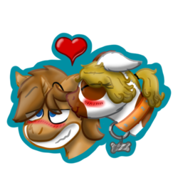 Size: 512x512 | Tagged: safe, artist:hilfigirl, oc, oc only, oc:heavy weight, oc:pawprint, earth pony, pony, unicorn, blushing, collar, dog tags, grin, heart, heavyprint, in love, kissing, love, smiling, telegram sticker