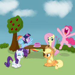 Size: 4000x4000 | Tagged: absurd res, applejack, apple tree, artist:evan555alpha, bush, cake, celebration, derpibooru exclusive, flower, fluttershy, food, happy birthday mlp:fim, mane six, mlp fim's seventh anniversary, outdoors, pinkie pie, rainbow dash, rarity, safe, table, tree, twilight sparkle