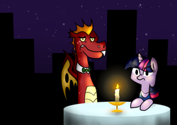 Size: 540x382 | Tagged: safe, garble, twilight sparkle, dragon, crack shipping, date, dressed, female, looking at you, male, night, shipping, straight, twigarble, wat