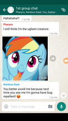 Size: 1440x2560 | Tagged: group chat, meme, pharynx, rainbow dash, roasted, safe, savage, text, texts from ponies, thorax, whatsapp, zephyr breeze