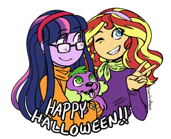 Size: 3227x2615 | Tagged: artist:overlordneon, clothes, costume, crossover, cute, daphne blake, dog, equestria girls, female, glasses, grin, halloween, holiday, lesbian, looking up, one eye closed, open mouth, peace sign, safe, scooby doo, shipping, simple background, smiling, spike, spike the dog, sunset shimmer, sunsetsparkle, sweater, tongue out, twilight sparkle, twilight sparkle (alicorn), velma dinkley, white background, wink