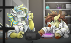 Size: 3536x2162   Tagged: safe, artist:taiga-blackfield, oc, oc only, oc:calpain, oc:cirrus sky, earth pony, hippogriff, pony, beaker, chest fluff, clothes, colored hooves, commission, duo, duo male, ear fluff, floppy ears, goggles, lab coat, laboratory, leg fluff, male, safety goggles, stallion, test tube, tongue out, unshorn fetlocks