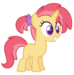 Size: 642x644 | Tagged: artist:cutiesparkle, female, filly, oc, oc only, oc:scarlet appleblossom, offspring, parent:apple bloom, parents:tenderbloom, parent:tender taps, pony, safe, simple background, solo, transparent background, unicorn