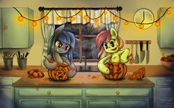 Size: 1572x974 | Tagged: safe, artist:moonlightfl, oc, oc only, oc:artline, oc:cosmia nebula, banana, clock, food, halloween, holiday, jack-o-lantern, kitchen, knife, moon, nightmare night, pentagram, pumpkin, pumpkin carving, spoon, tree