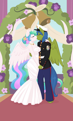 Size: 1156x1920 | Tagged: alicorn, alternate hairstyle, anthro, artist:rapps, bell, blushing, canon x oc, clothes, dress, dress uniform, eyes closed, female, flower, flower in hair, holding hands, kissing, male, mare, marriage, oc, oc:rally flag, pegasus, princess celestia, rallylestia, ring, safe, shipping, stallion, straight, strapless, wedding, wedding dress, wedding ring