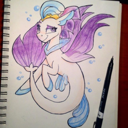 Size: 593x593 | Tagged: safe, artist:partylikeanartist, queen novo, seapony (g4), my little pony: the movie, binder, book, bubble, crown, drawing, eyeshadow, felt tip, flippers, instagram, jewelry, lineart, looking away, makeup, photo, queen, raised eyebrow, regalia, sassy, smiling, smirk, solo, traditional art, underwater