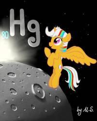 Size: 384x480 | Tagged: safe, artist:mercurysparkle, part of a set, oc, oc only, oc:mercury sparkle, alicorn, object pony, original species, pony, element pony, female, mare, mercury (planet), periodic table, planet, ponified, solo, sun