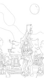 Size: 1000x1750 | Tagged: safe, artist:evil-spider, princess luna, alicorn, pony, full moon, grayscale, halloween, holiday, jack-o-lantern, monochrome, moon, nightmare night, pumpkin, sketch