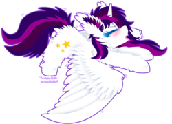Size: 1024x739 | Tagged: safe, artist:vanillaswirl6, oc, oc only, oc:twily star, alicorn, pony, alicorn oc, blushing, chibi, dock, drool, eyes closed, female, fluffy, mare, open mouth, raffle prize, sharp teeth, simple background, solo, spread wings, stretching, teeth, tongue out, transparent background, wings, yawn