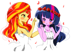 Size: 879x629 | Tagged: safe, artist:lotte, sunset shimmer, twilight sparkle, equestria girls, blush sticker, blushing, clothes, cute, dress, female, floral head wreath, flower, flower petals, lesbian, looking at each other, shimmerbetes, shipping, summer dress, sunsetsparkle, twiabetes