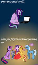 Size: 1283x2217 | Tagged: safe, artist:hayley566, boulder (pet), maud pie, starlight glimmer, sunset shimmer, trixie, twilight sparkle, alicorn, earth pony, pony, unicorn, blanket, comforting, computer, crying, cup, cute, drama, eyes closed, female, floppy ears, glimmerbetes, glowing horn, heartwarming, hug, in defense of starlight, laptop computer, magic, mare, one eye closed, positive message, positive ponies, sad, sadlight glimmer, sitting, starlight drama, starlight drama drama, teacup, teapot, telekinesis, there is hope, twilight sparkle (alicorn)