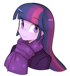 Size: 719x777 | Tagged: safe, artist:haden-2375, twilight sparkle, equestria girls, bust, clothes, female, looking at you, scarf, simple background, smiling, solo, white background, winter outfit