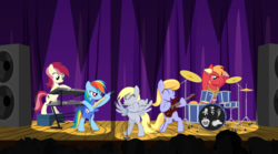 Size: 14000x7800 | Tagged: safe, artist:jeatz-axl, artist:mundschenk85, artist:parclytaxel, artist:ponyhd, artist:tardifice, big macintosh, cloud kicker, derpy hooves, rainbow dash, roseluck, earth pony, pegasus, pony, absurd resolution, band, bass guitar, bipedal, drums, electric guitar, eyes closed, female, flute, guitar, keyboard, musical instrument, one eye closed, open mouth, progressive rock, show accurate, vector