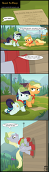 Size: 2571x8908 | Tagged: applejack, artist:toxic-mario, camp, camp friendship, climbing, clothes, coloratura, comic, derpy hooves, dialogue, female, filly, filly applejack, filly coloratura, forest, hat, paper, pony, rope, safe, suction cup, uniform, wall, younger
