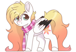 Size: 3000x2048 | Tagged: safe, artist:cinnamontee, oc, oc only, oc:ember (cinnamontee), pegasus, pony, clothes, colored wings, female, high res, mare, multicolored wings, scarf, simple background, solo, transparent background