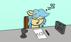 Size: 1107x661 | Tagged: artist:leapingriver, artist:numbersinc, chair, ear fluff, female, green background, mare, oc, oc:leapingriver, oc only, open mouth, pony, safe, simple background, sleeping, solo, streaming, table, zzz