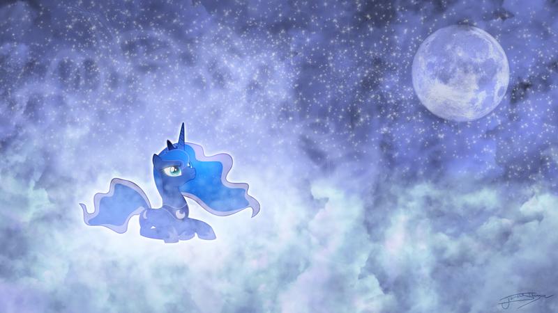 картинки фоны с луной пони