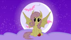 Size: 1920x1080   Tagged: safe, artist:neodarkwing, fluttershy, bat pony, apple, cloud, female, flutterbat, food, moon, race swap, solo, stars, wallpaper