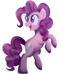 Size: 3019x3540 | Tagged: safe, artist:kimmyartmlp, pinkie pie, earth pony, pony, bipedal, female, mare, open mouth, rearing, simple background, smiling, solo, standing, standing on one leg, transparent background, watermark