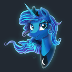 Size: 3000x3000 | Tagged: alicorn, artist:ask-colorsound, bust, female, gray background, jewelry, looking at you, mare, princess luna, regalia, safe, simple background, smiling, solo