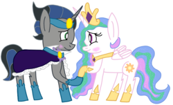 Size: 2248x1364 | Tagged: artist:snoopy7c7, blushing, celestibra, female, good king sombra, king sombra, looking at each other, male, princess celestia, safe, shipping, straight