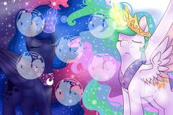 Size: 6000x4000 | Tagged: safe, artist:cloureed, princess celestia, princess luna, alicorn, night, sky, stars, watermark