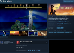 Size: 1178x837 | Tagged: safe, edit, princess luna, game:to the moon, gamer luna, barely pony related, gaming, review, solo, steam, steam (software), to the moon