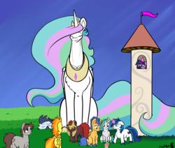 Size: 2250x1908   Tagged: safe, artist:greyscaleart, flash sentry, princess celestia, shining armor, soarin', spitfire, twilight sparkle, oc, oc:oblivia, pony, the tiny apprentice, colored hooves, colt, colt flash sentry, colt shining armor, colt soarin', cute, female, filly, filly spitfire, filly twilight sparkle, giant pony, giantlestia, macro, magic, male, momlestia fuel, size difference, smol, tallestia, telekinesis, tol, twilight is not amused, unamused, younger